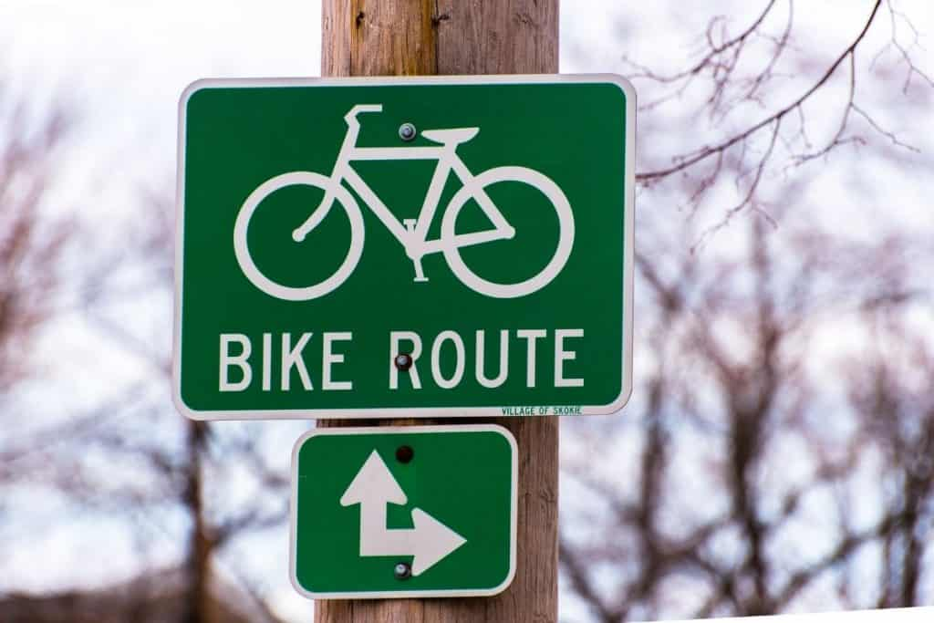 Is Biking Good for Losing Weight - Bike Route Sign