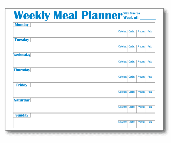 Meal Prep Template with Macro Tracking