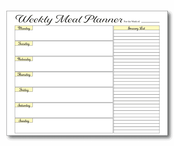 Weekly Meal Prep Template with Grocery List