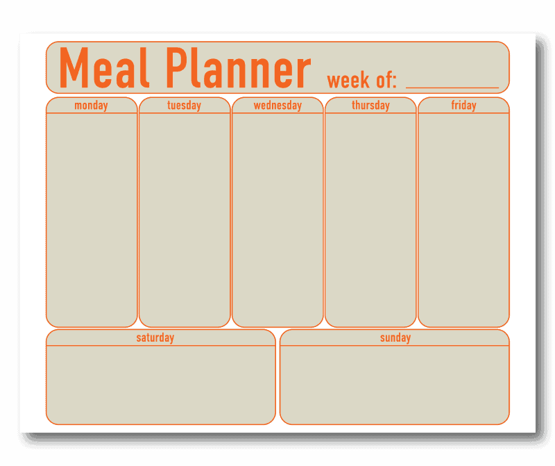 Meal Planner Template with Rounded Boxes