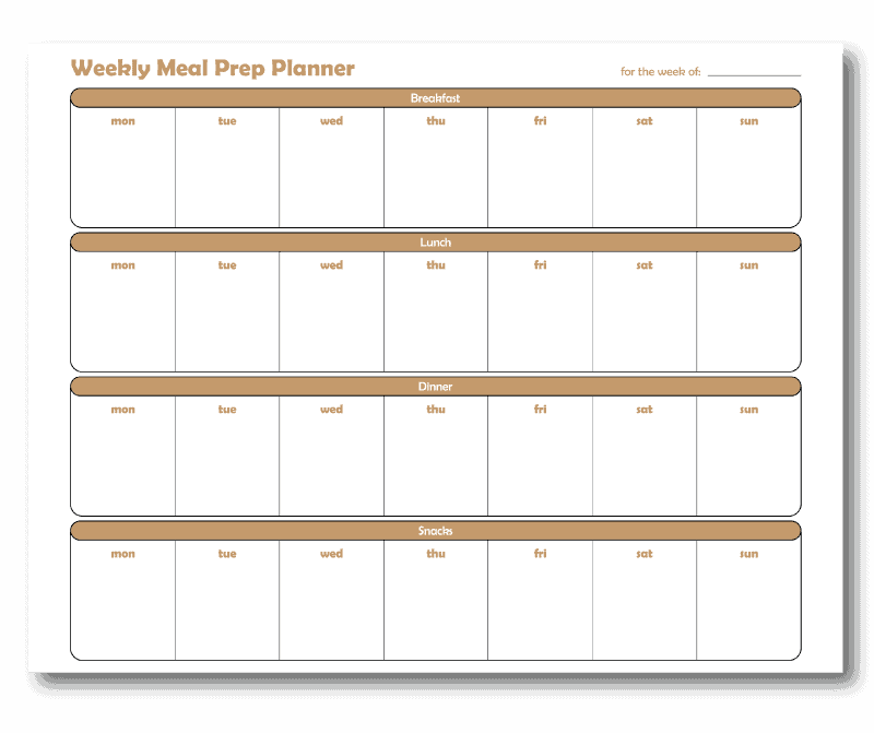 3 Meal a Day Weekly Meal Prep Planner