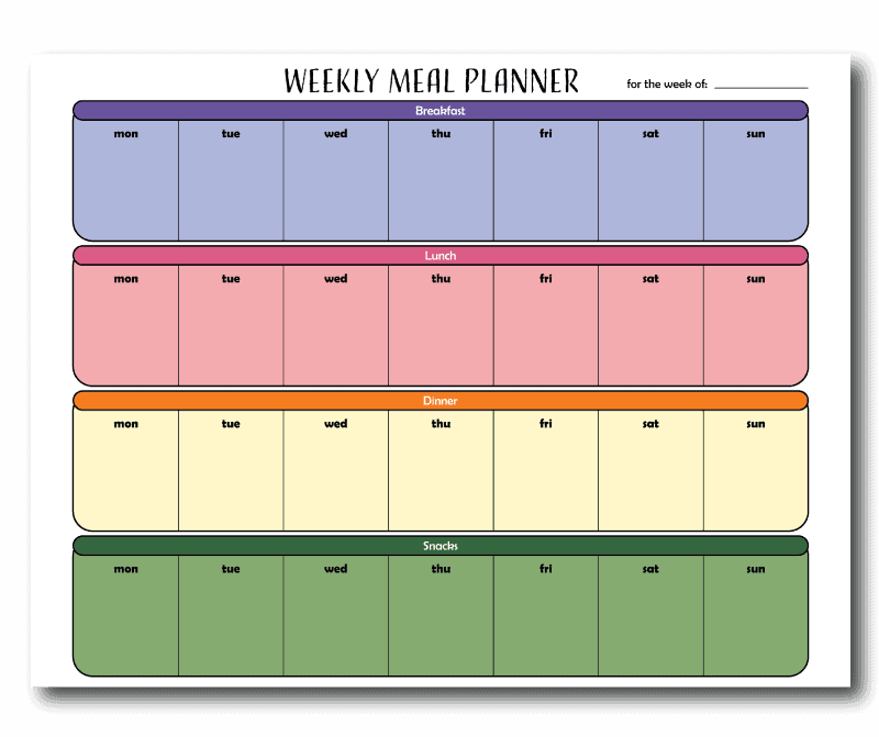 Colorful 3 Meal a Day Weekly Planner